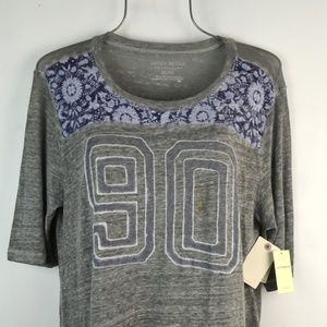 Lucky Brand Gray Blue Floral 90 Burnt Raglan Top